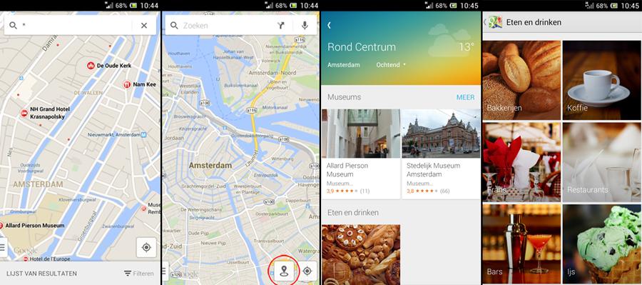 huidige locatie google maps