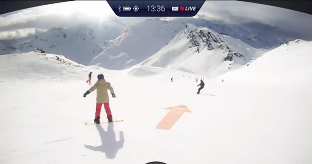 De ideale route wordt duidelijk aangegeven op deze skibril