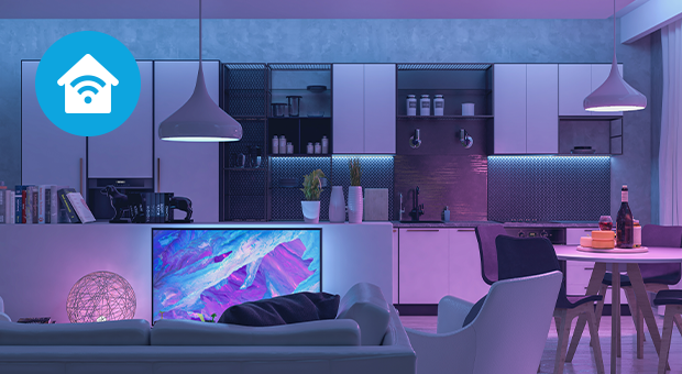 smart home futuristisch paars huiskamer